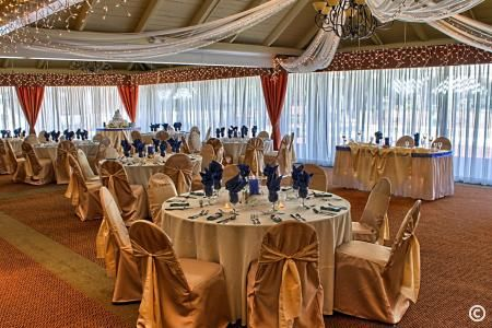 Gold themed wedding reception
