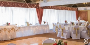 Wedding dance floor and dining area