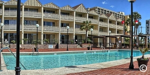 Brick pool deck at Myrtle Beach Resort