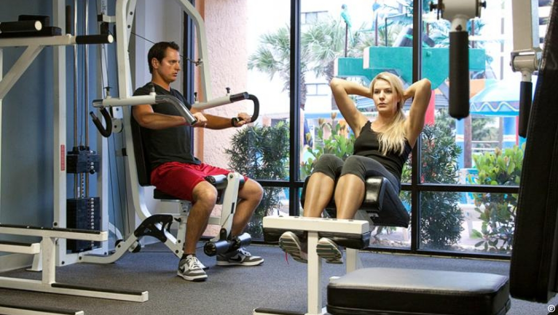 Couple working out on a Myrtle Beach vacation