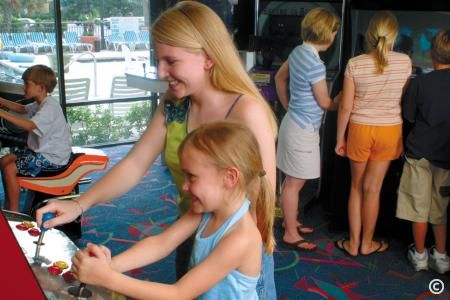 Playing games at the oceanfront resort