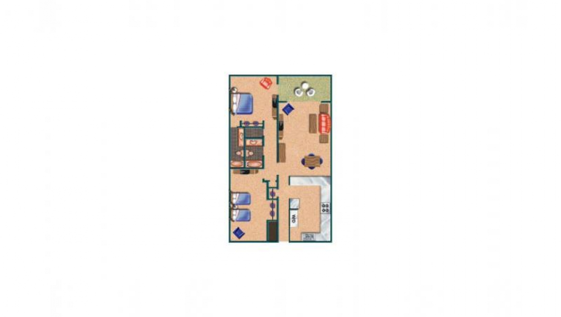 Room Diagram of Two Bedroom Two Bathroom Carolina Dunes Condo