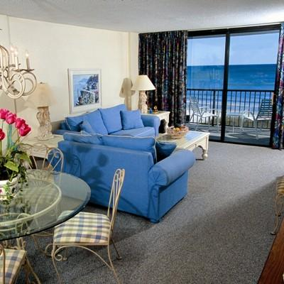 The Carolina Dunes features oceanfront two and three bedroom condominiums with full living rooms and kitchens and all units offer washers and dryers as well as dishwashers.