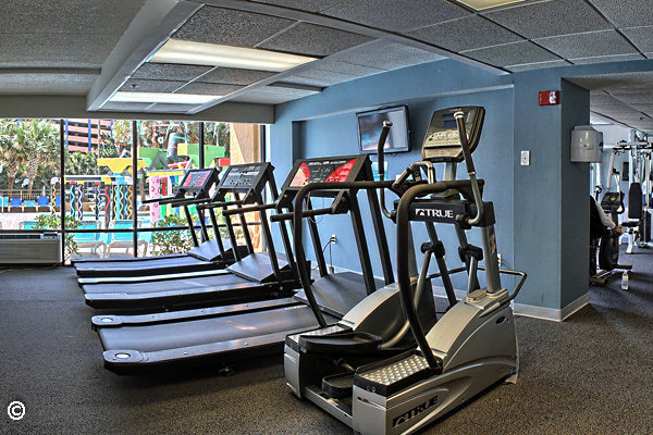 The exercise room is located at the main building and is open to resort guests.