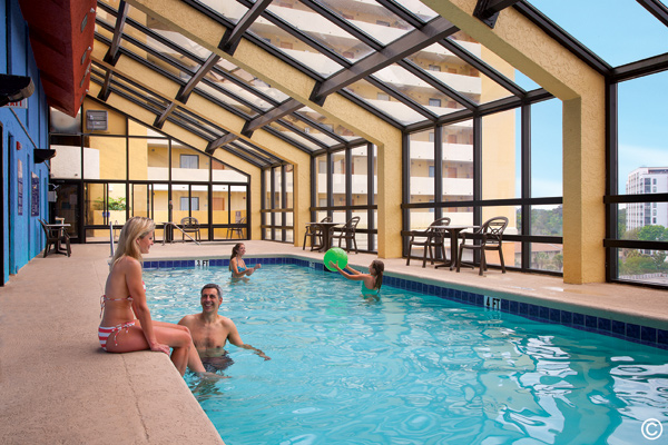 The 7th floor indoor pool is a popular spot when seeking cover and also features indoor and outdoor whirlpools.